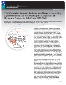 [2,3-13C]-Labeled Aromatic Residues as a Means to Improving Signal Intensities and Kick-Starting the Assignments (Application Note 22)